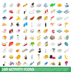100 activity icons set isometric 3d style vector image vector image