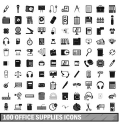 100 office supplies icons set simple style vector