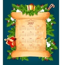 Christmas calendar on scroll with pine tree gift vector image
