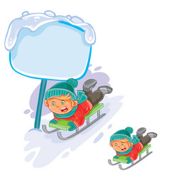 little boy is riding a sled vector image