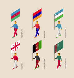 Set of isometric people with flags of middle east vector