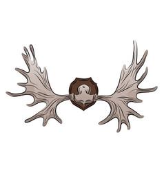 Color of moose antlers trophy vector