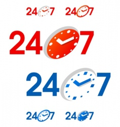 24 7 signs vector image