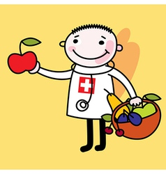 Doctor with fruit vector