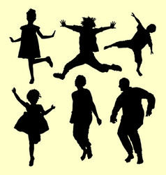 Teenager and old people jumping silhouette vector