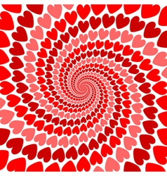 Design red heart whirl movement background vector