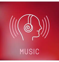 Music logo in outline style vector