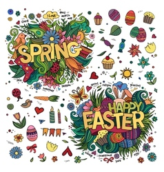 Easter and spring hand lettering and doodles vector