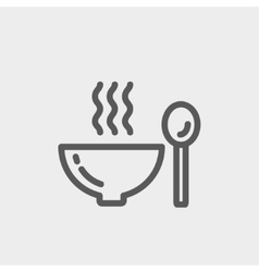 Bowl of hot soup with spoon thin line vector