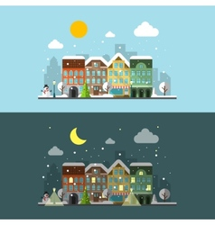 Winter city landscape in day and night vector
