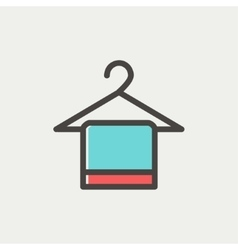 Towel on hanger thin line icon vector