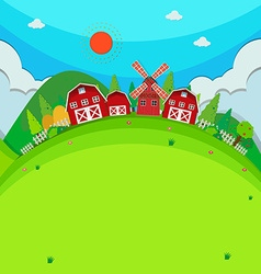 Farm land with barns and windmill vector