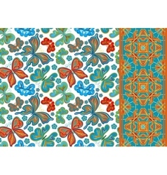 Set of seamless floral pattern pattern vector image