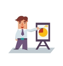Business man with flip chart cartoon character vector
