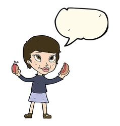 Cartoon woman eating hotdogs with speech bubble vector