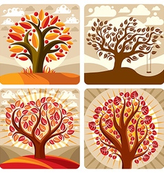Art of orange trees growing on beautiful meadow st vector image