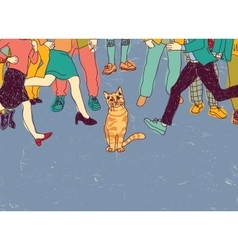 Poor homeless cat on street crowd people vector