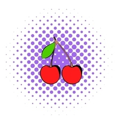 A couple of red cherries icon comics style vector