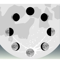 The phases of the moon in a circle eps10 vector