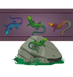 Set of lizards of various colors vector