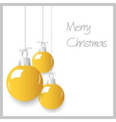 Shiny yellow christmas decoration baubles hanging vector