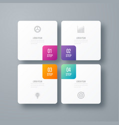 Business infographics template 4 steps with square vector