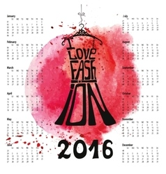 Calendar 2016 yearletteringdress silhouette vector