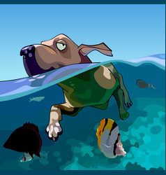 Cartoon dog swims in the sea with fishes vector
