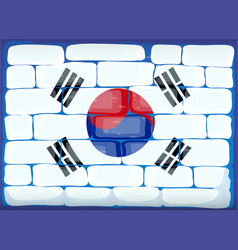 Flag of south korea painted on brickwall vector