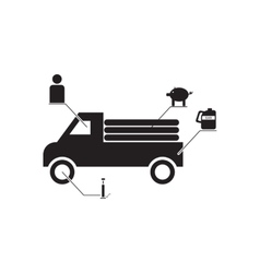 Flat icon in black and white car infographics vector