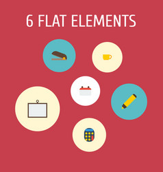 Flat icons whiteboard tea date and other vector