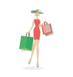 Girl in a hat with bags in hands after shopping vector image vector image