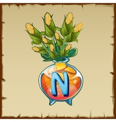 Glass vase with bouquet of corn and letter n vector