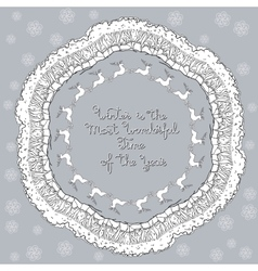 hand drawn mandala with winter decorative vector image vector image