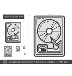 Hard drive disk line icon vector