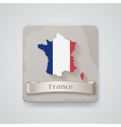 Icon of france map with flag vector