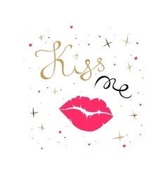 Kiss me card vector image