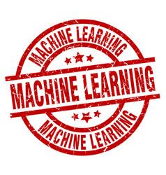 Machine learning round red grunge stamp vector
