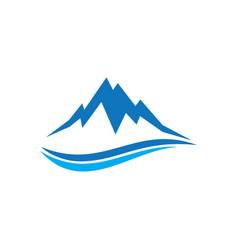 mountain wave sign logo vector image vector image