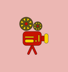 Old movie video camera in flat vector