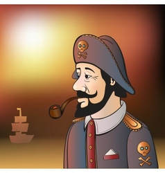 Pirate Captain with Beard and Pipe vector image