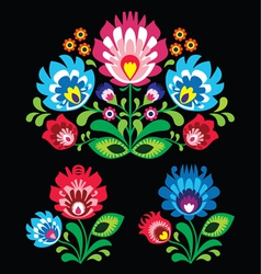 Polish floral folk embroidery pattern on black vector image vector image