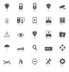 Security icons with reflect on white background vector image