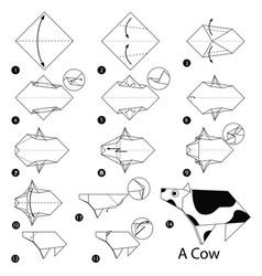 Step instructions how to make origami a cow vector