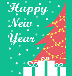 The new years card with a christmas tree and vector