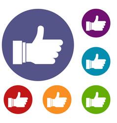 thumb up sign icons set vector image vector image