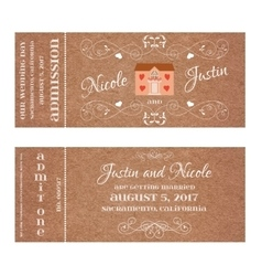 Ticket for wedding invitation with wedding house vector