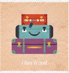 Vintage web design i love travel banner vintage vector