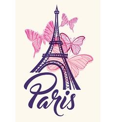 Romantic background with Eiffel Tower vector image