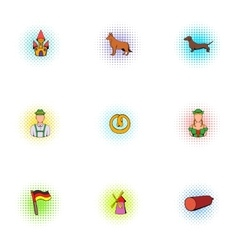 Alcoholic beverage icons set pop-art style vector